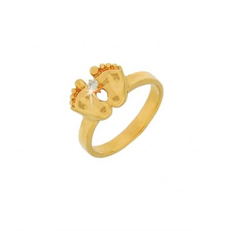 Damenring Babyfuß aus Gold mit Brillant