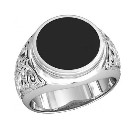 Мужское серебряное кольцо с ониксом