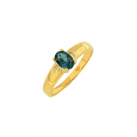 Женское кольцо с натуральным топазом