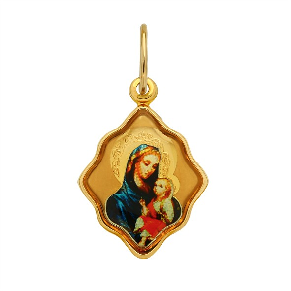 Ikone, Mutter Gottes mit Kind in Rotgold 585