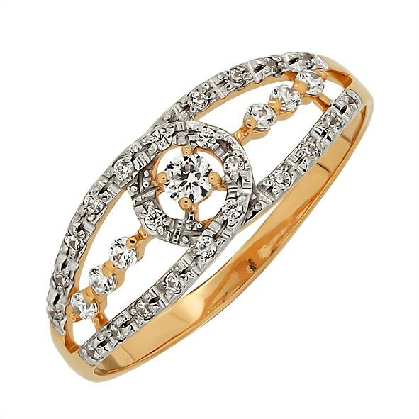Кольцо с камнями из русского золота 585