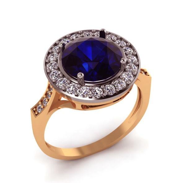 Кольцо с син. сапфиром из золота
