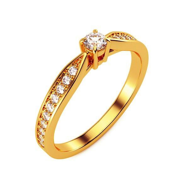 Кольцо с бриллиантом 15(47) / Жёлтое золото / 333