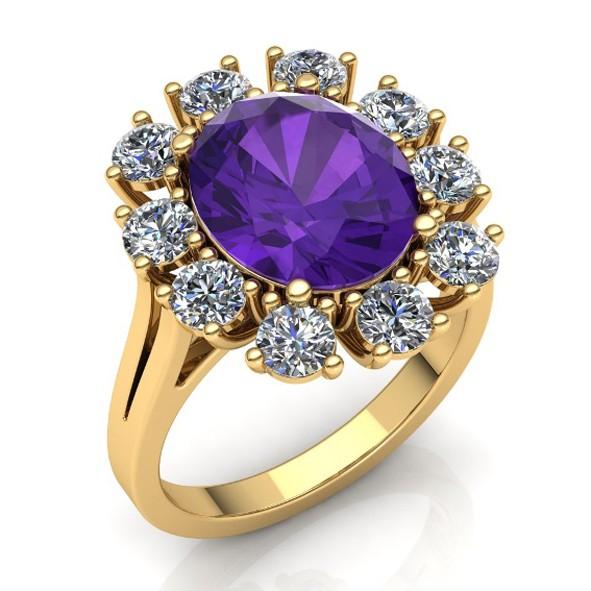 Ring mit Amethyst und Diamanten