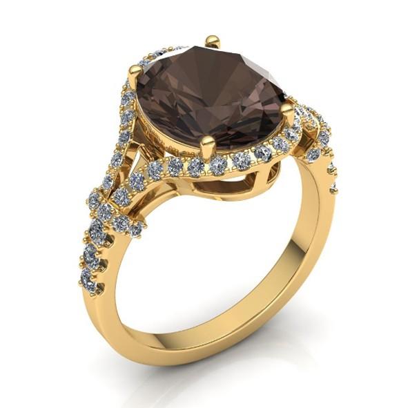 Ring mit Rauchtopas und Diamanten