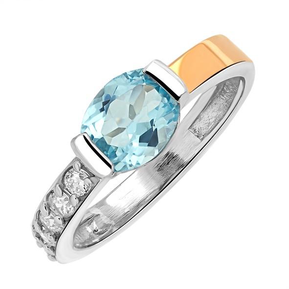Женское кольцо из серебра с вставкой из красного золота 375 пробы