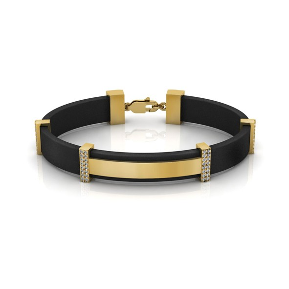 Каучуковый браслет с золотыми элементами и цирконием