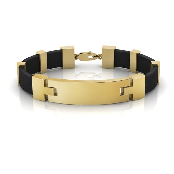 Каучуковый браслет с золотыми элементами