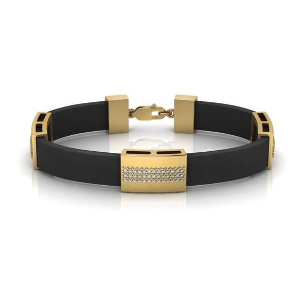 Kautschuk-Armband mit Goldelementen und Zirkonia