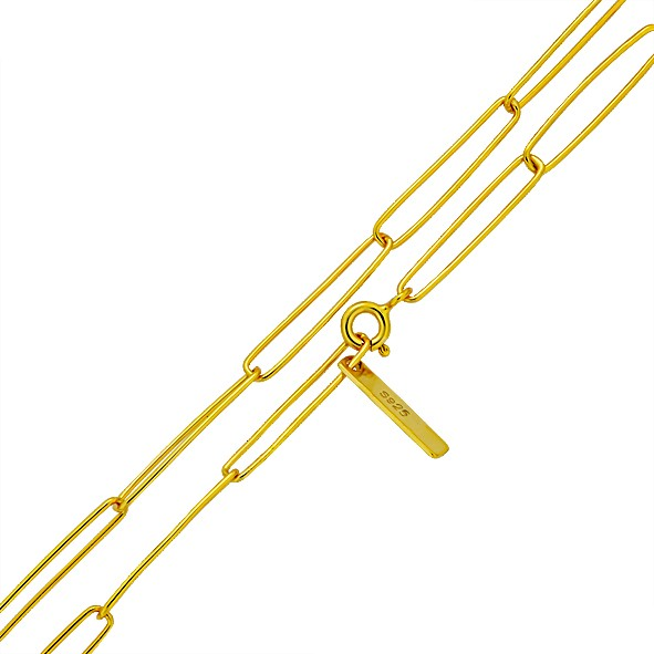 Halskette aus Silber 925, Ankerkette // vergoldet