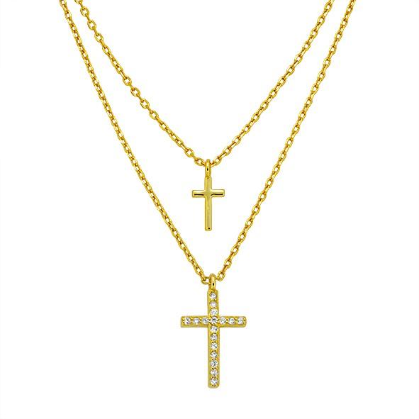 Halskette aus Silber 925, Ankerkette // Doppelkette mit Kreuz // Layer-Kette // vergoldet