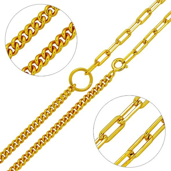 Kombi-Kette aus Silber 925 // Anker & Panzerkette // vergoldet