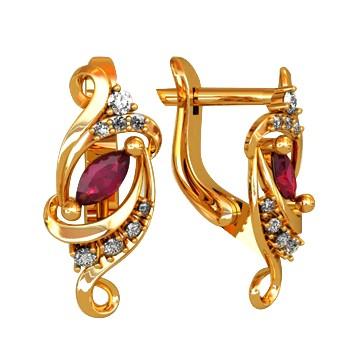 Ohrringe aus Gold mit Rubin