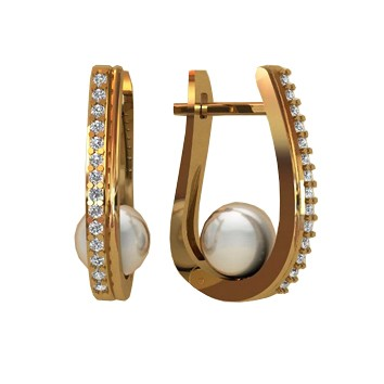 Женские серьги из золота с жемчугом