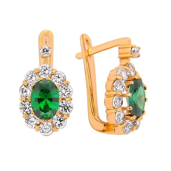 Goldene Ohrringe mit Stein