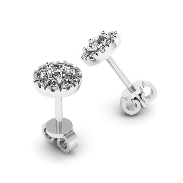 Серьги с бриллиантами из золота Белое золото / 585