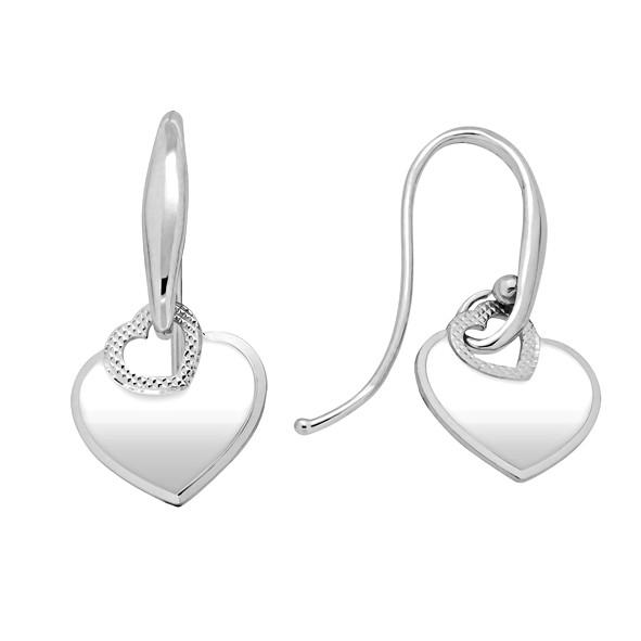 Серебряные серьги 925 // простые серьги-сердечки