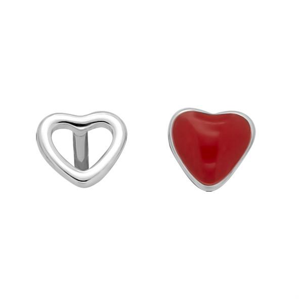 Серебряные серьги с эмалью // Сердце // Сердечные Гвоздики