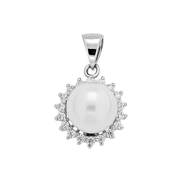 Silberanhänger mit Perlen und Zirkonia
