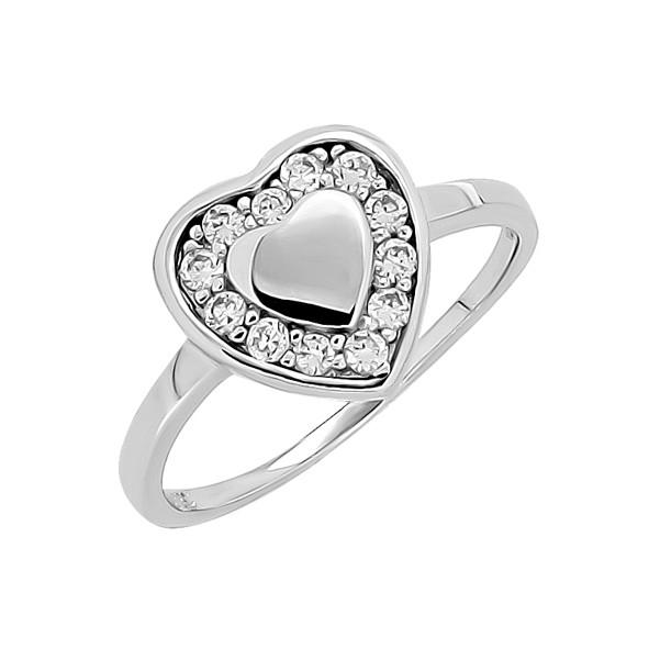 Женское серебряное кольцо с цирконием // сердце
