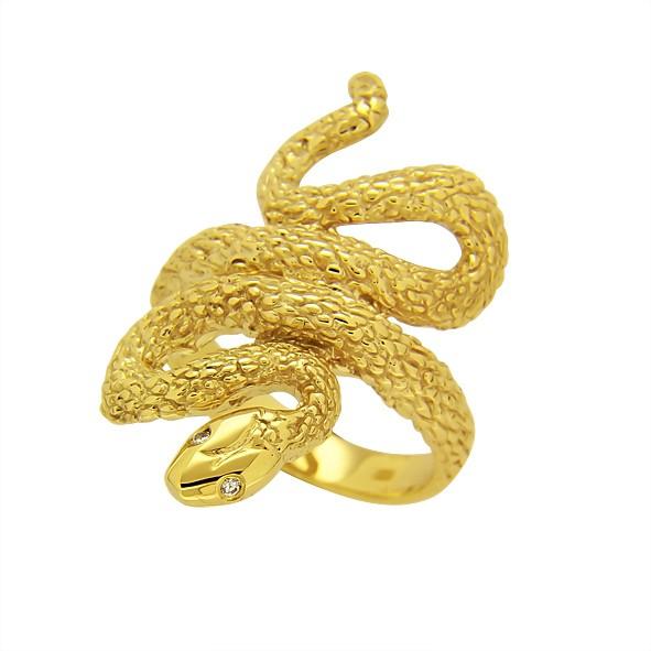 кольцо змея золотое