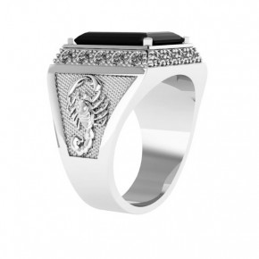 Кольцо мужское из серебра 19,5(61) / Цирконий